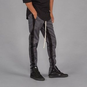 Other - Striped Twill Track Pants (Charcoal & Black)